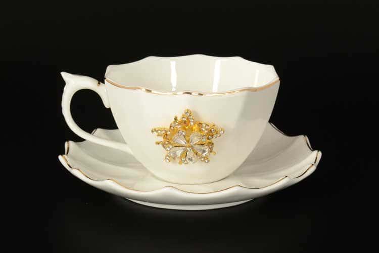Набор чайных пар Royal Classics 6 шт  с золотом и камнями
