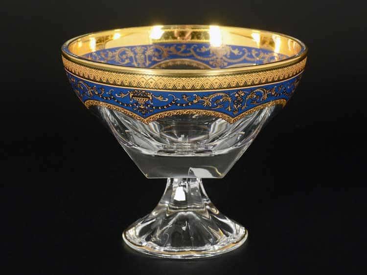 Версаче Глава Лаура синяя Конфетница на ножке Astra Gold стеклянная