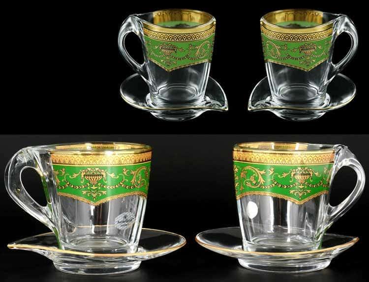 Версаче Глава Лаура зеленая Набор чайных пар 2 чашки + 2 блюдца 4 пр Astra Gold