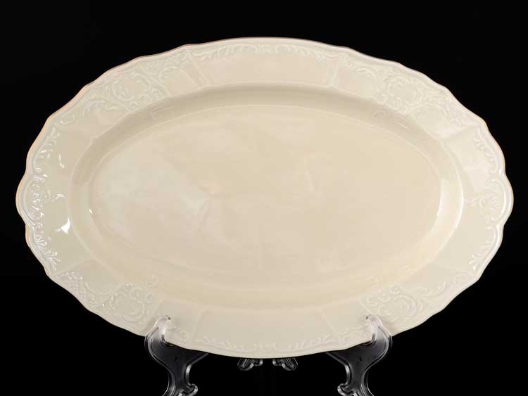 Бернадотт BE-IVORY 311011 Белый узор Блюдо овальное 36 см