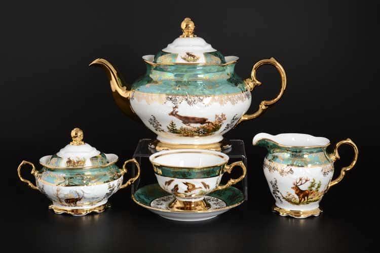 Фредерика Охота Зеленая Чайный сервиз Roman Lidicky на 6 персон 17 предметов