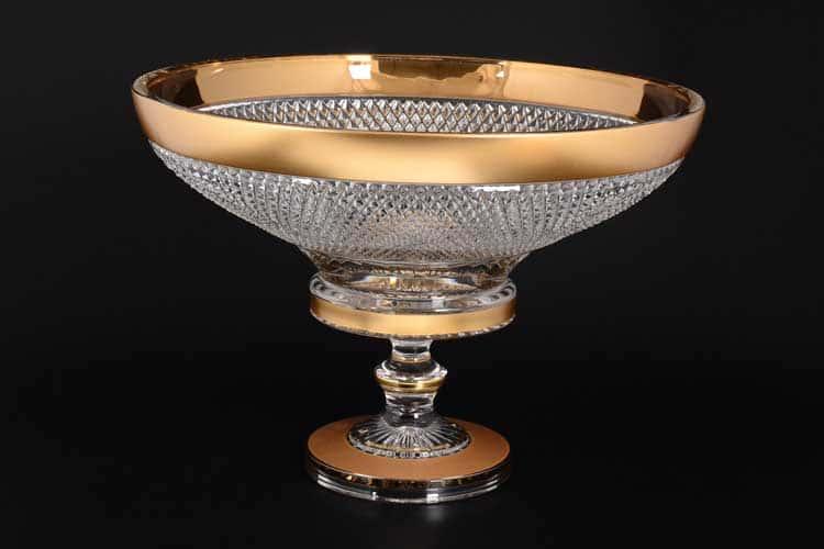Felicia Max Crystal Золото Ваза для фруктов на ножке  Bohemia 40 см