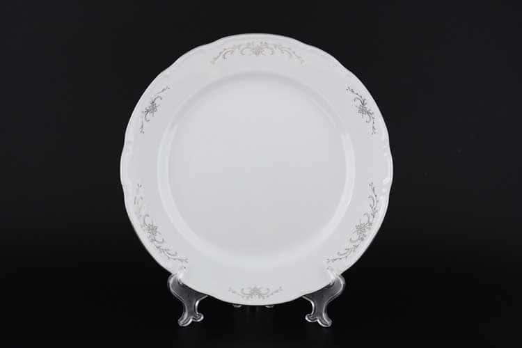 Констанция Серый орнамент Отводка платина Блюдо круглое Thun 30 см