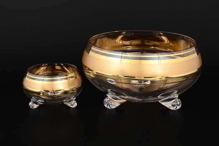 Хрусталь с золотом R-G матовый Набор конфетниц 7 предметов