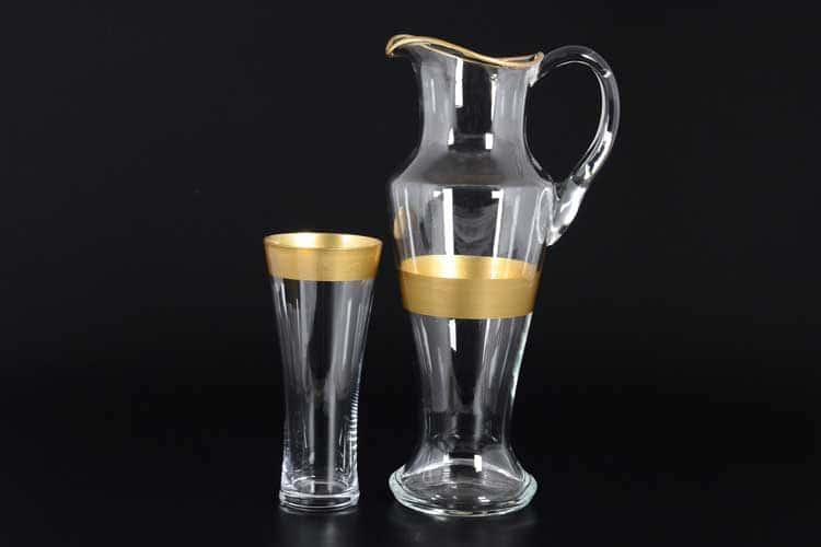 Хрусталь с золотом R-G матовый Набор для воды графин со стаканами