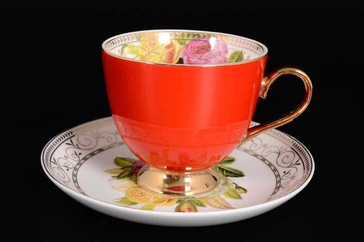 Радуга Red Набор чайных пар 6 шт Royal Classics на ножках