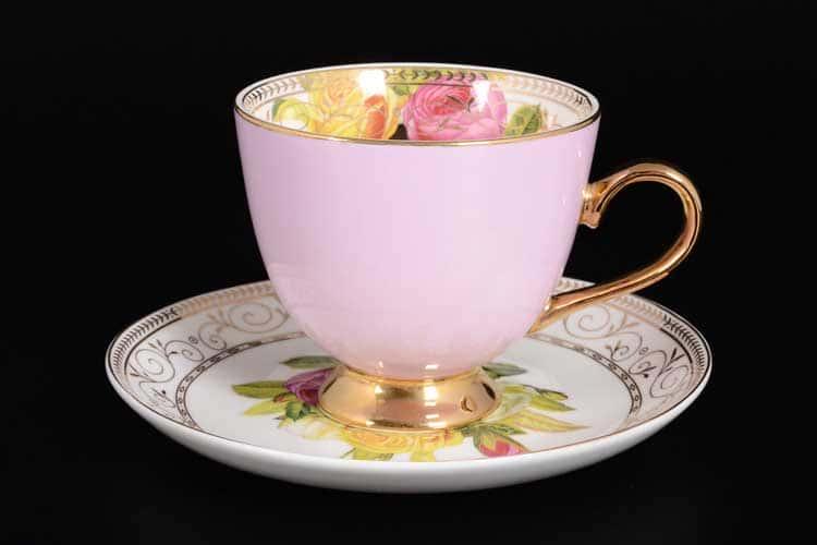 Радуга Pink Набор чайных пар 6 шт Royal Classics на ножках