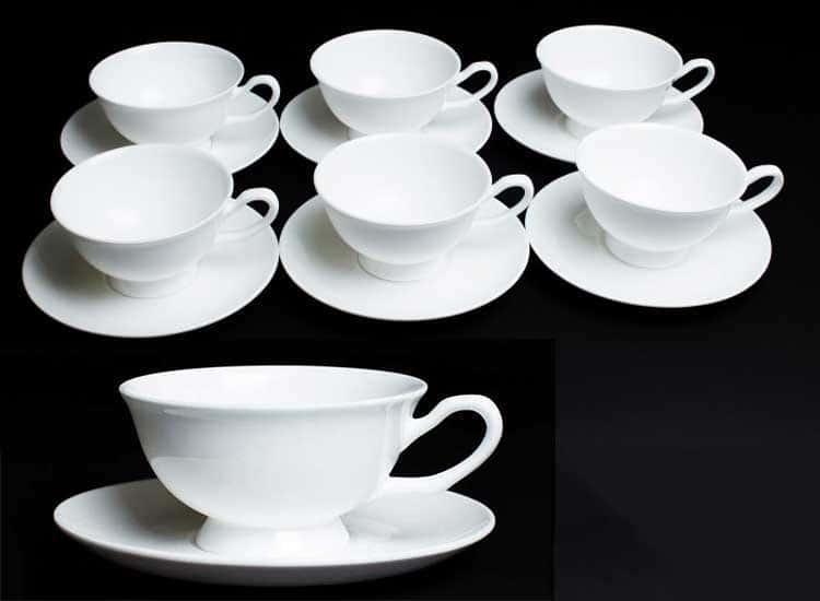 Белый Набор чайных пар 6 шт. 200 мл Rulanda