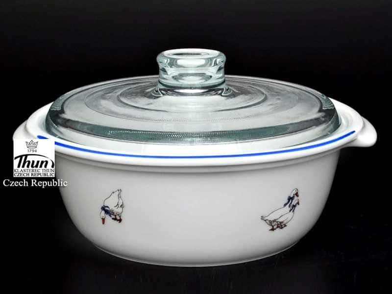 Гуси Кастрюля с крышкой Thun 22 см жаропрочный фарфор