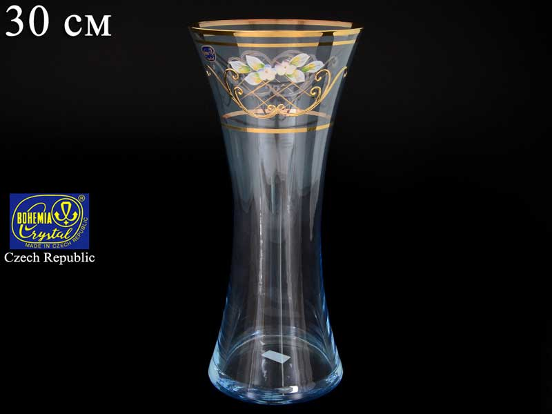 V0024 Голубая Ваза для цветов иксовка Bohemia Crystal 30 см