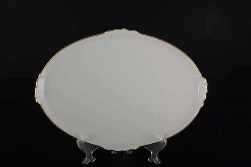 Белый узор Корона Блюдо овальное QC 37 см