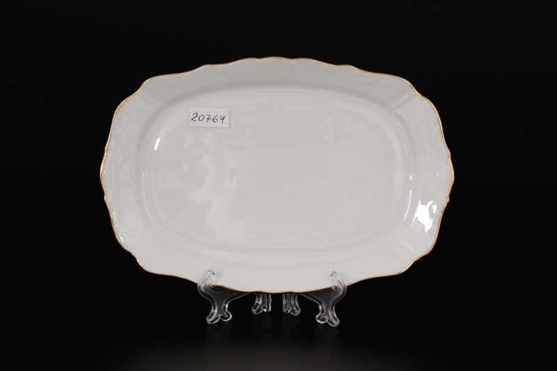 Белый узор Корона Блюдо прямоугольное QC 21 см