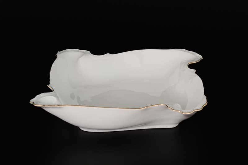 Белый узор Корона Блюдо фигурное квадратное QC 27 см