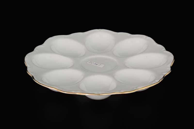 Белый узор Корона Поднос для яиц 20 см QC