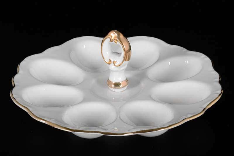 Белый узор Корона Поднос для яиц 20 см QC с ручкой