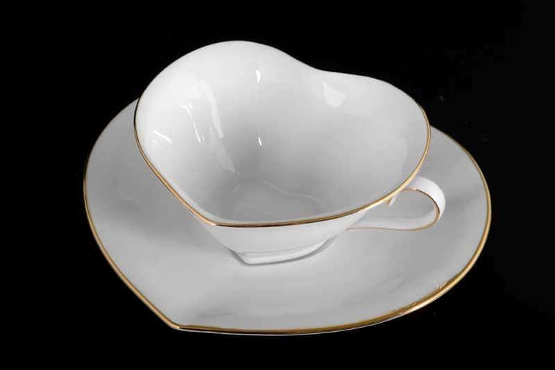 Белый узор Корона Чайная пара Сердце QC 150 мл