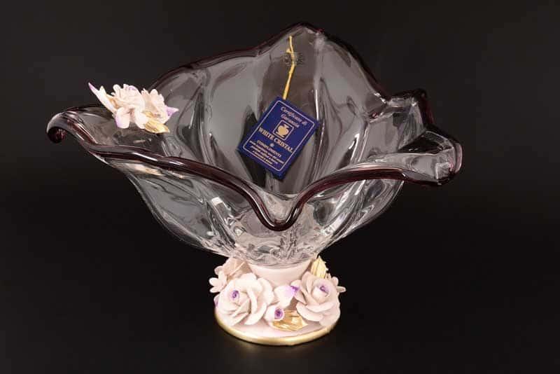 Ваза для фруктов White Cristal на ножке фиолетовая