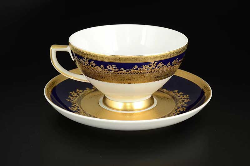 Constanza Cobalt Gold 9320 Набор чайных пар 220 мл Falkenporzellan (6 шт)