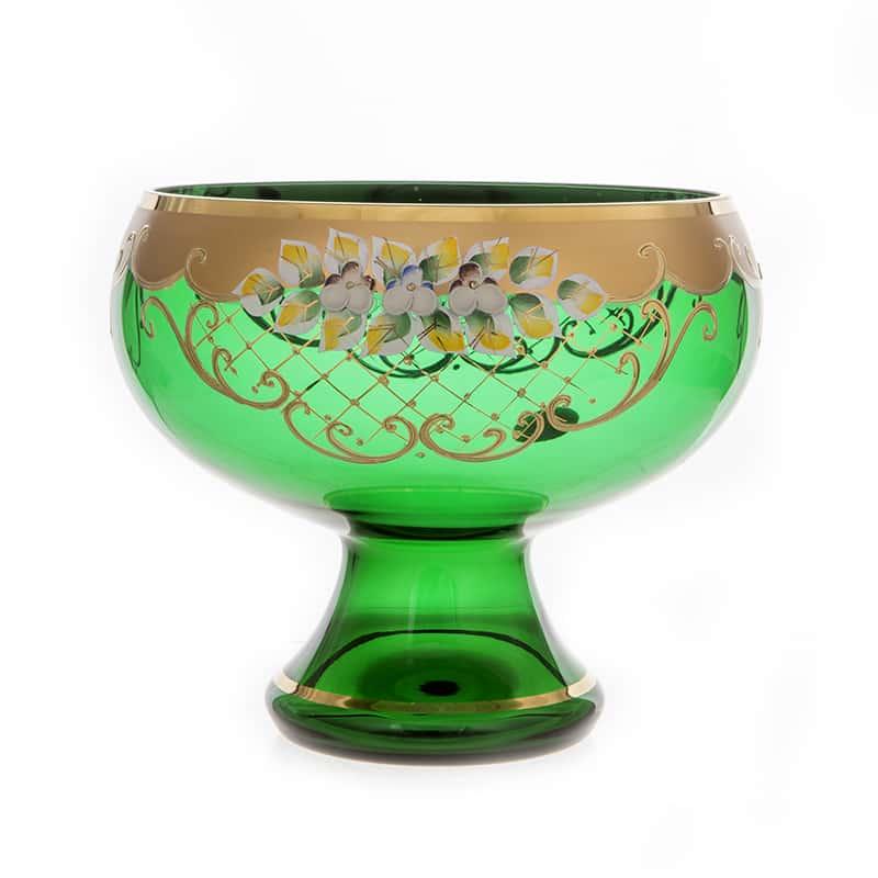 Лепка зеленая 5849 Ваза для фруктов на ножке U. Glass 24 см.