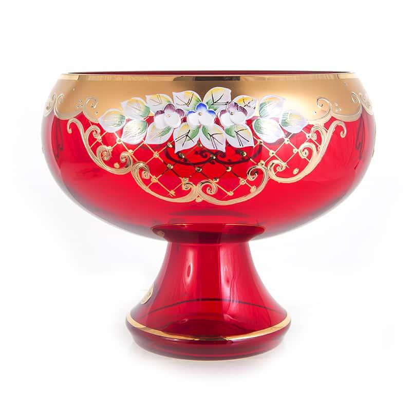 Лепка красная 5849 Ваза для фруктов U. Glass 24 см. на ножке