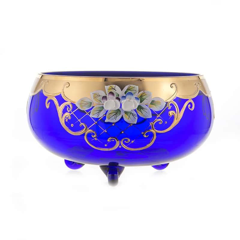 Лепка синяя 5408 Ваза для конфет на 3 ножках U. Glass 17 см