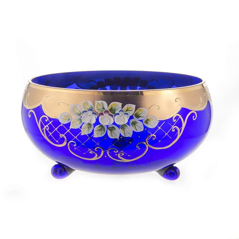 Лепка синяя 5408 Ваза для фруктов на 3 ножках U. Glass 24 см