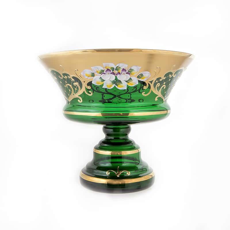 Лепка зеленая 5365 Фруктовница на ножке U. Glass 28 см