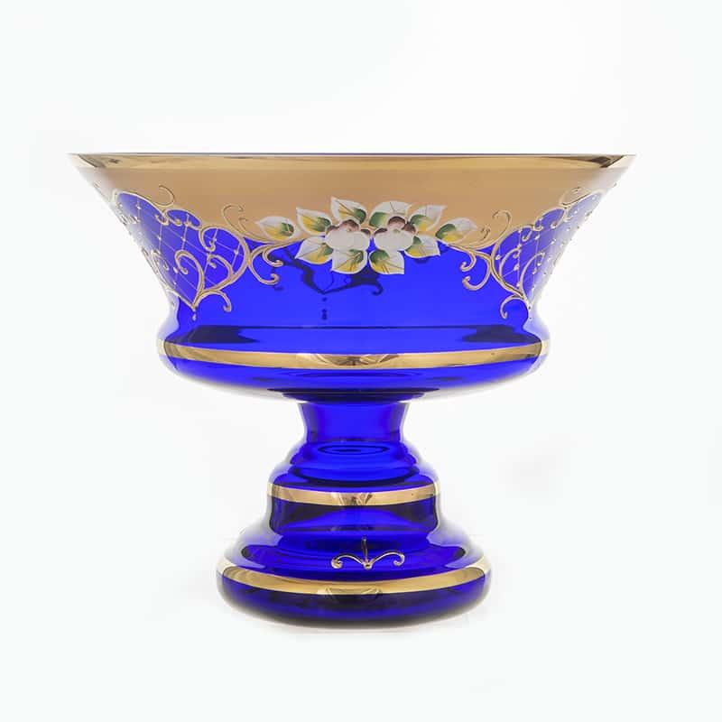 Лепка синяя 5365 Фруктовница на ножке U. Glass 24 см