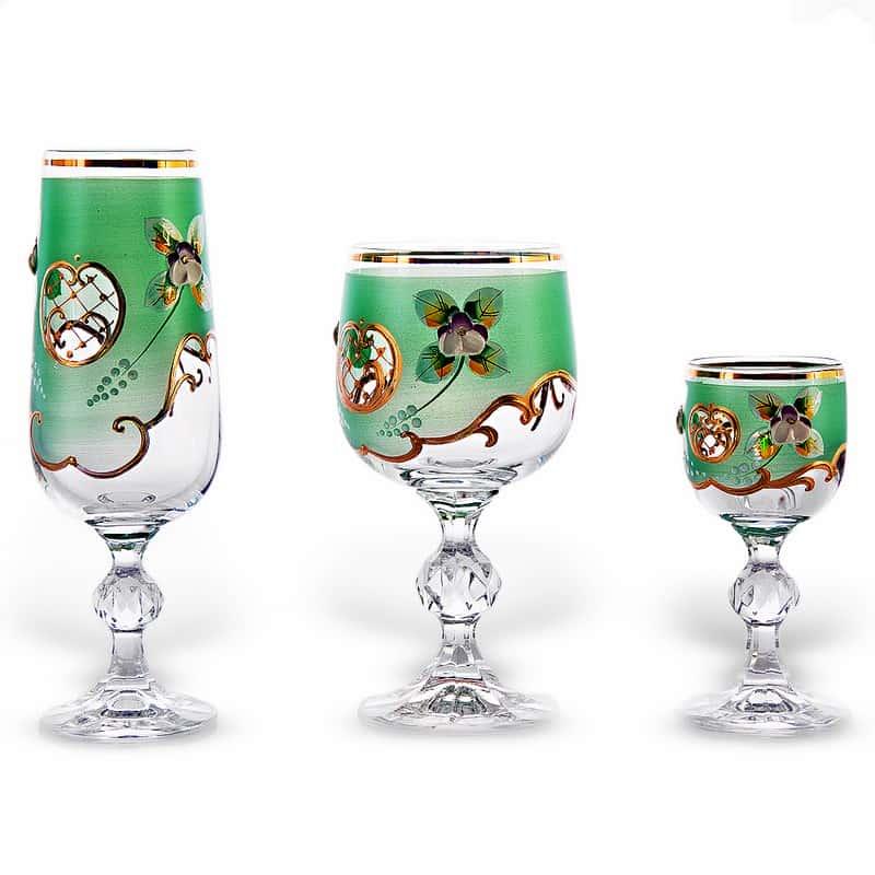 Лепка зеленая Фужер для шампанского Bohemia 180 мл.1 шт.