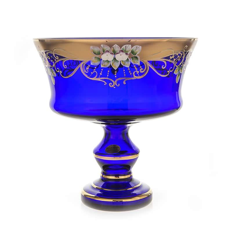 Лепка синяя 6999 Фруктовница на ножке U. Glass 28 см