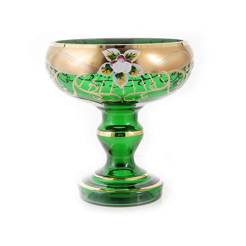 Лепка зеленая 6333 Ваза для конфет на ножке U. Glass 15 см