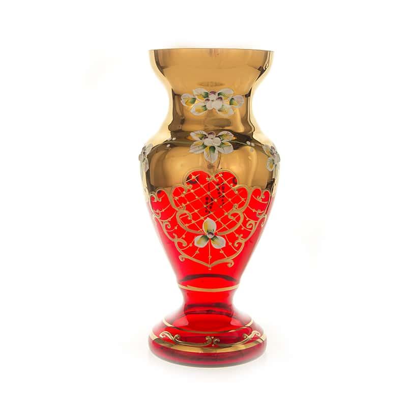 Лепка красная 83219 Цветочница на ножке U. Glass 26 см