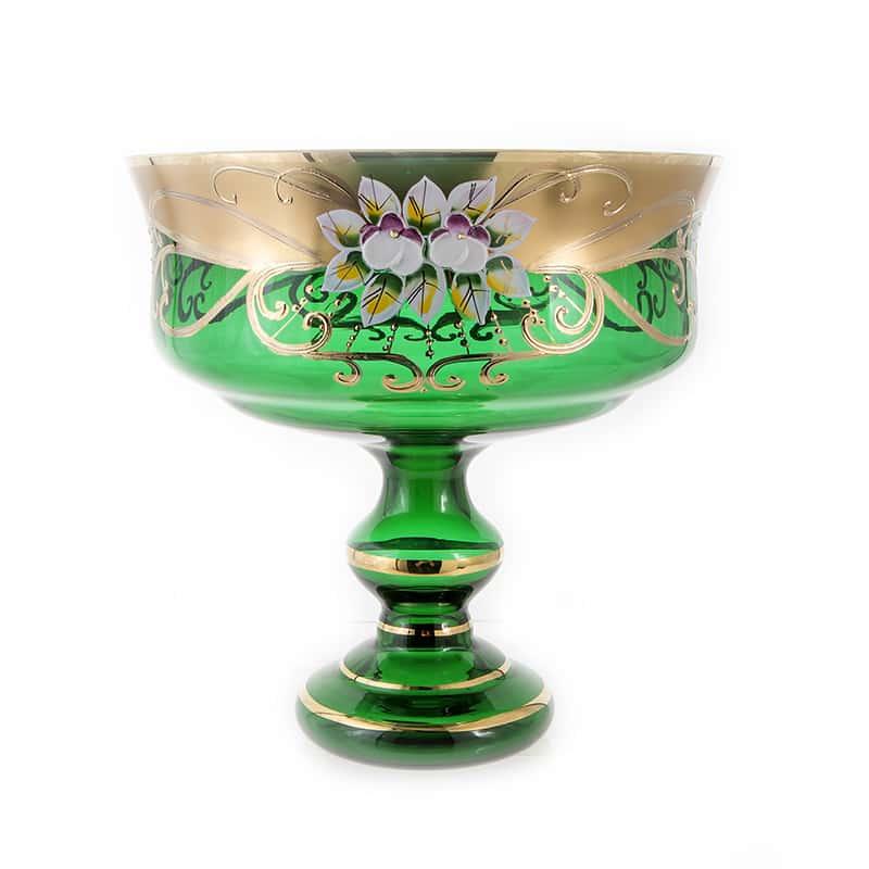 Лепка зеленая 6888 Ваза для фруктов 24 см U. Glass на ножке