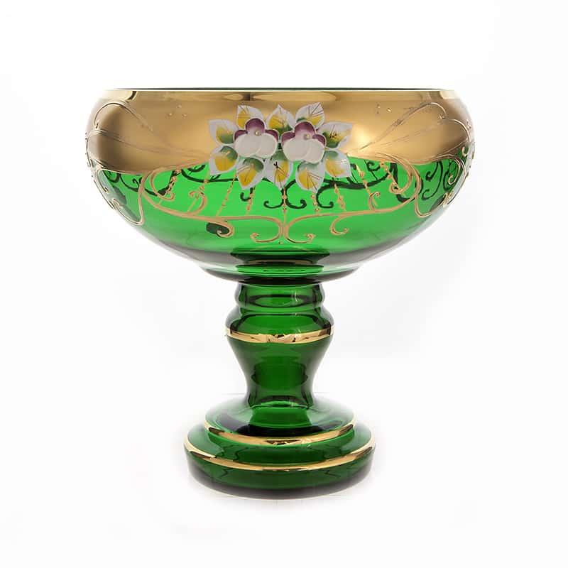 Лепка зеленая 6333 Ваза для фруктов 28 см U. Glass на ножке