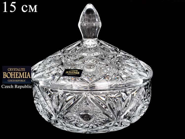 MIRANDA Конфетница с крышкой Crystalite Bohemia 15 см