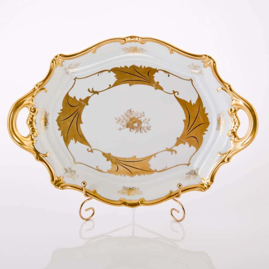 Кленовый лист белый Блюдо овальное Weimar 37 см.