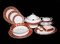Александрия Красная Сервиз столовый Bavarian на 6 персон 27 предметов