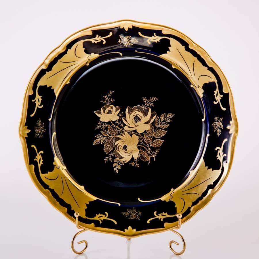 Кленовый лист синий Блюдо круглое 30 см Weimar