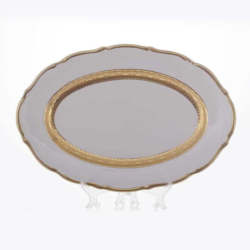Лента золотая матовая 1 Блюдо овальное Bavarian 38 см