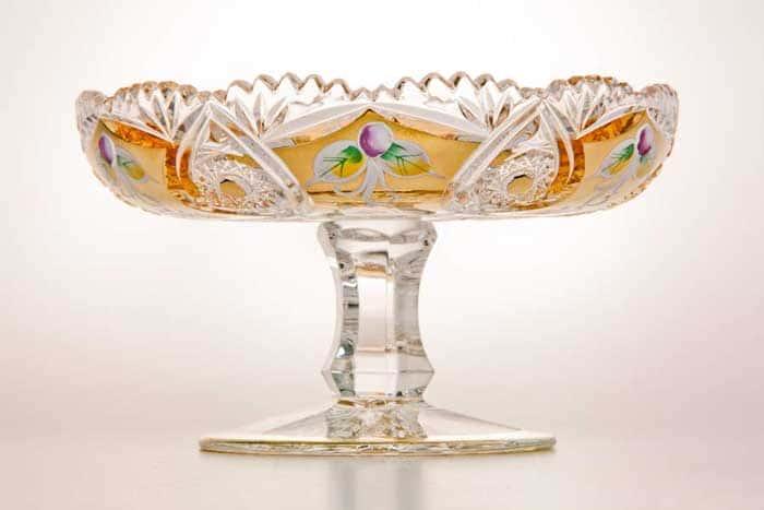 Хрусталь с золотом Ваза для конфет на ножке Acrystal 15 см
