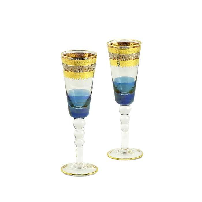 ADRIATICA Бокал для шампанского, набор 2 шт, хрусталь голубой/декор золото 24К/платина