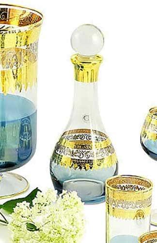 ADRIATICA Графин 1 л. H33 см, хрусталь голубой/декор золото 24К/платина