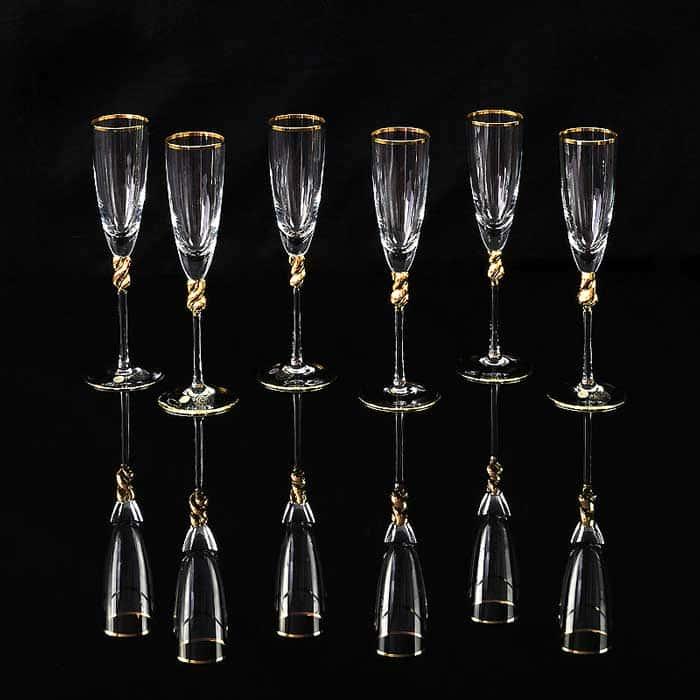 AMORE Бокал для шампанского, набор 6 шт, хрусталь/декор золото 24К