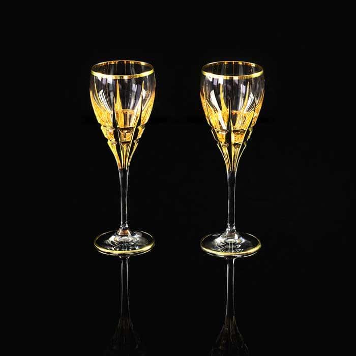 BARON Бокал для вина/воды, набор 2 шт, хрусталь/декор золото 24К