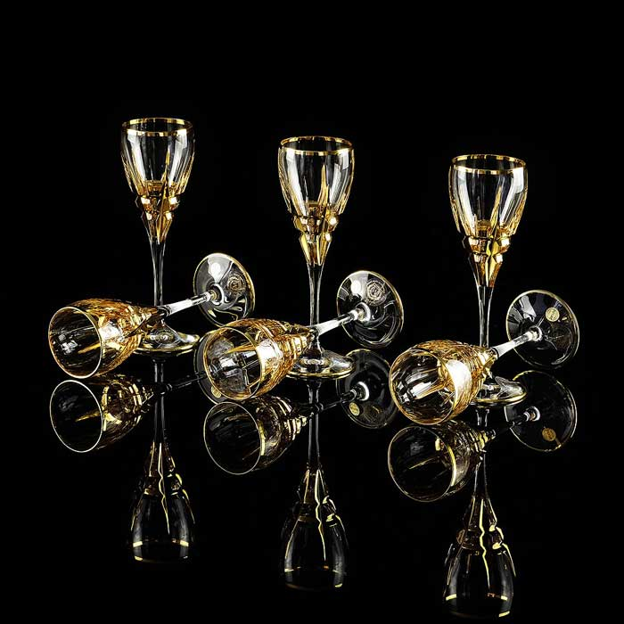 BARON Рюмка, набор 6 шт, хрусталь/декор золото 24К