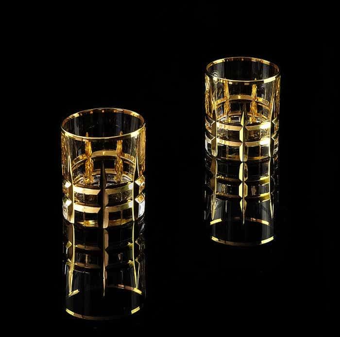 BARON Стакан для виски 300 мл, набор 2 шт, хрусталь/декор золото 24К