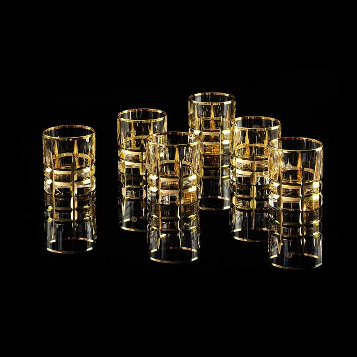 BARON Стакан для виски 300 мл, набор 6 шт, хрусталь/декор золото 24К