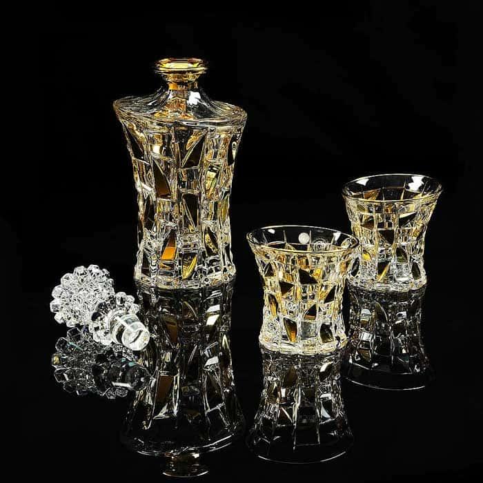 CASINO Комплект для виски: графин + 2 стакана, хрусталь/декор золото 24К