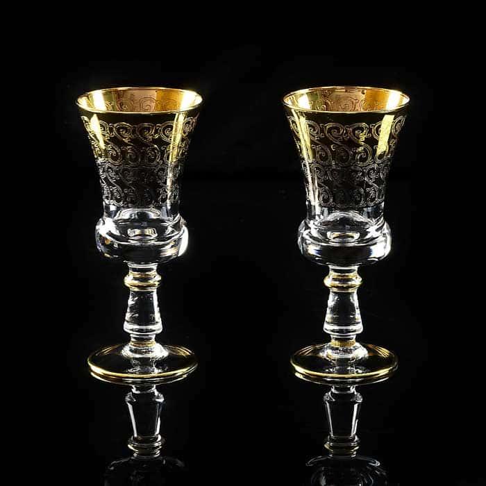 CREMONA Бокал для вина/воды, набор 2 шт, хрусталь/декор золото 24К