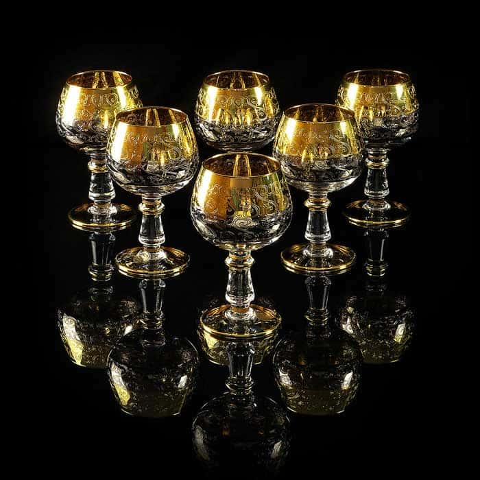 CREMONA Бокал для коньяка, набор 6 шт, хрусталь/декор золото 24К
